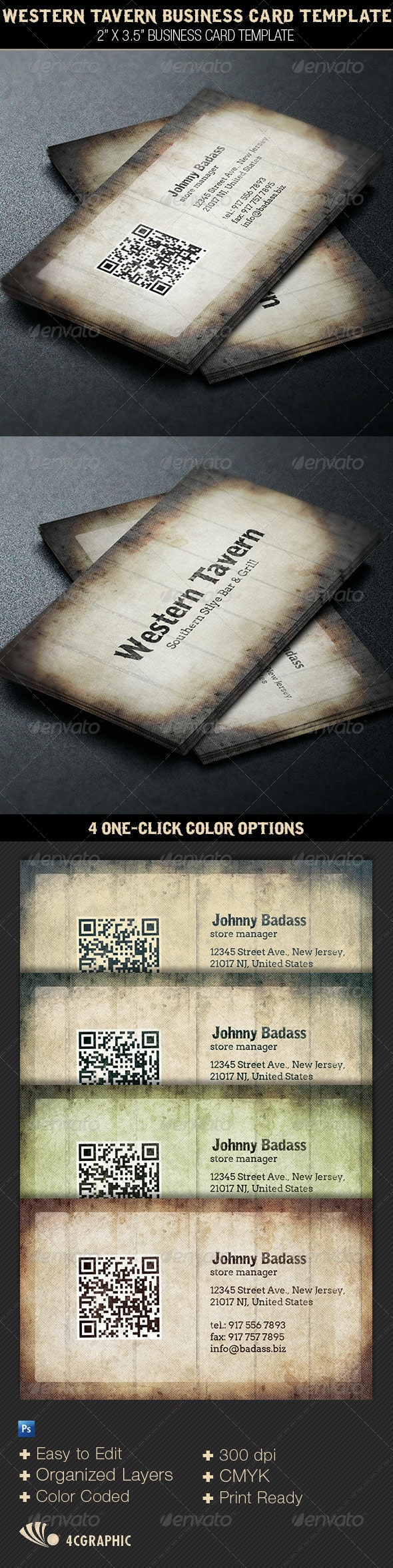 Western Tavern Business Card Template - Retro/Vintage Business Cards