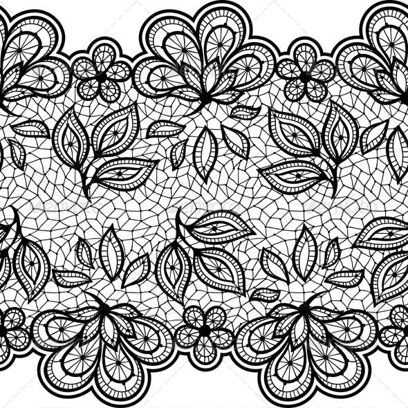 Black Lace Floral Designs and Seamless Patterns.