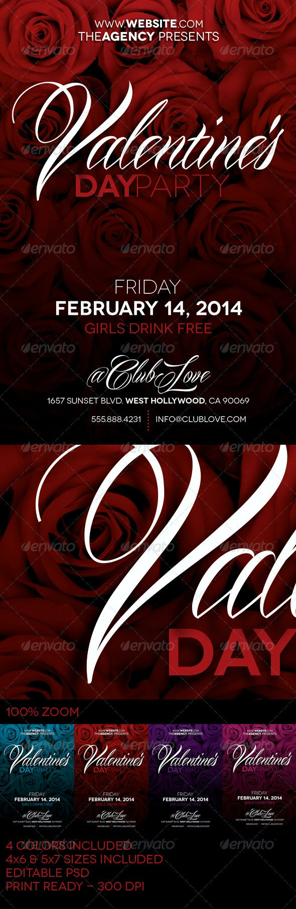 Valentine's Day Party Flyer - Clubs & Parties Events