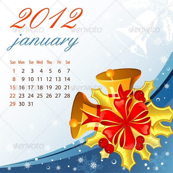 Calendar for 2012 January - New Year Seasons/Holidays