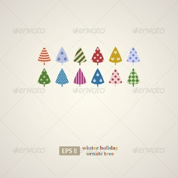 Colorful Winter Holiday Trees