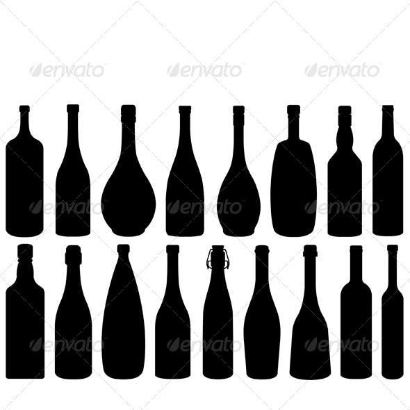 Set of Different Glass Bottles