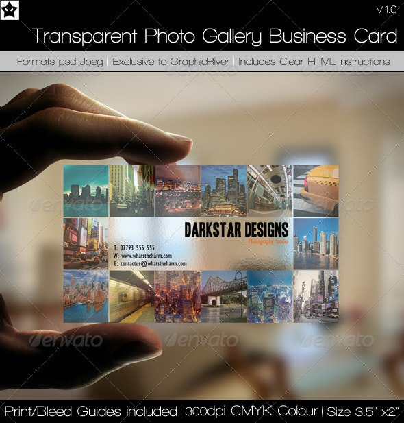 Transparent Picture Gallery Business Card  - Creative Business Cards