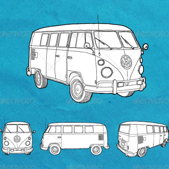 4e0a79a356 Hand Drawn Old Volkswagen Transporter