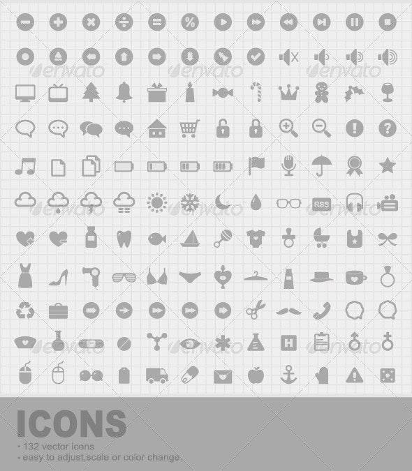 132 Mini Vector Icons - Web Icons