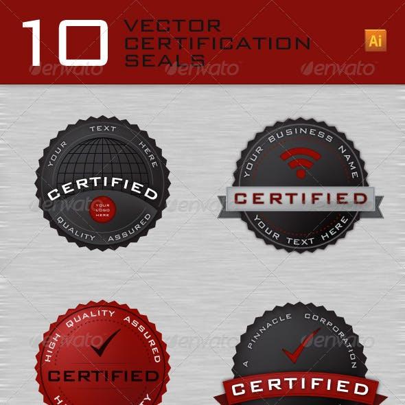 10 Vector Web Certification Seals / Badges