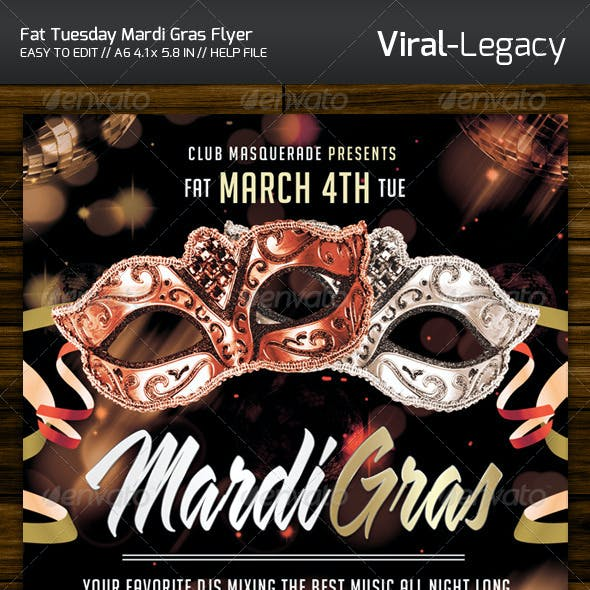 Fat Tuesday Mardi Gras Flyer