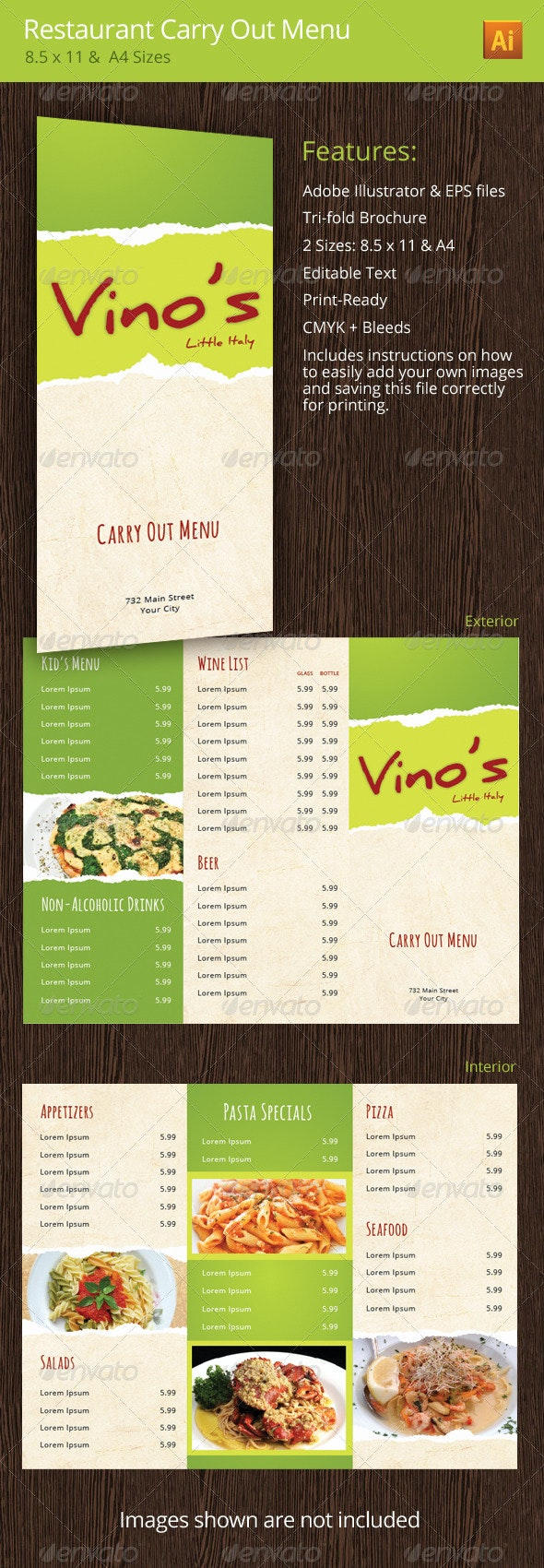 Italian Restaurant Rustic Carry Out Menu - Food Menus Print Templates