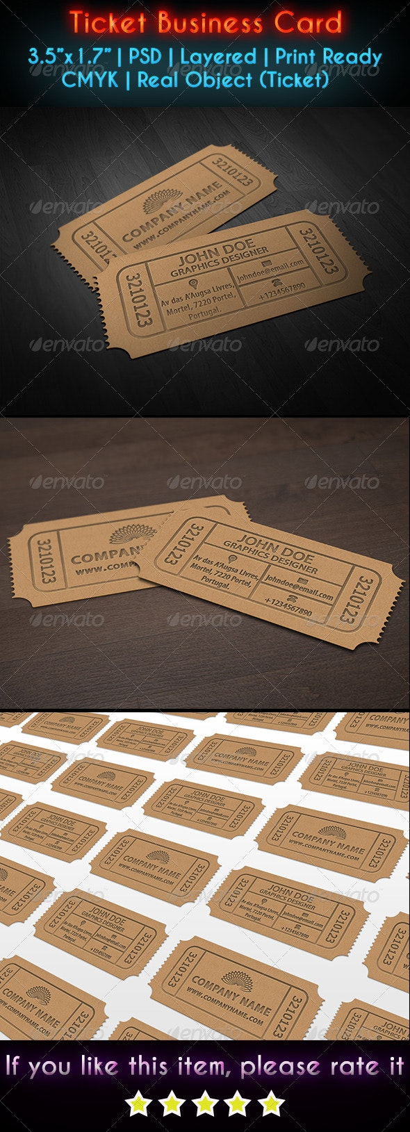 Ticket Business Card - Real Objects Business Cards