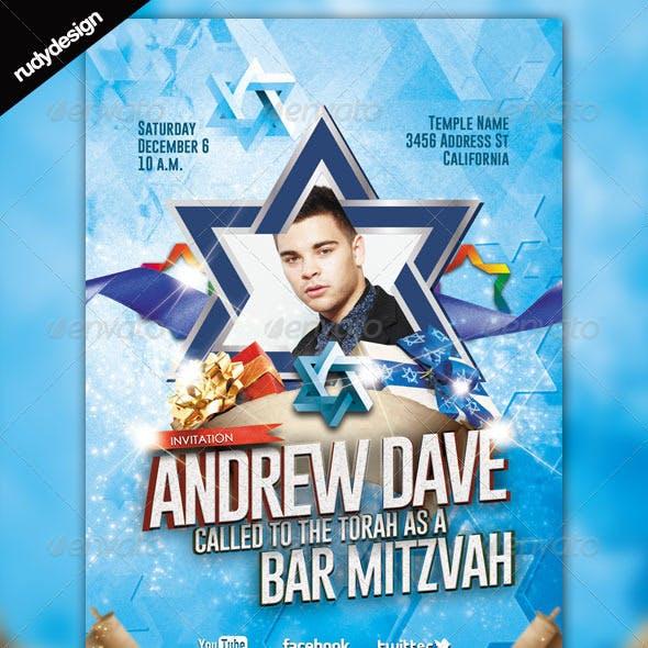 Bar Mitzvah Bat Mitzvah Modern Flyer Template