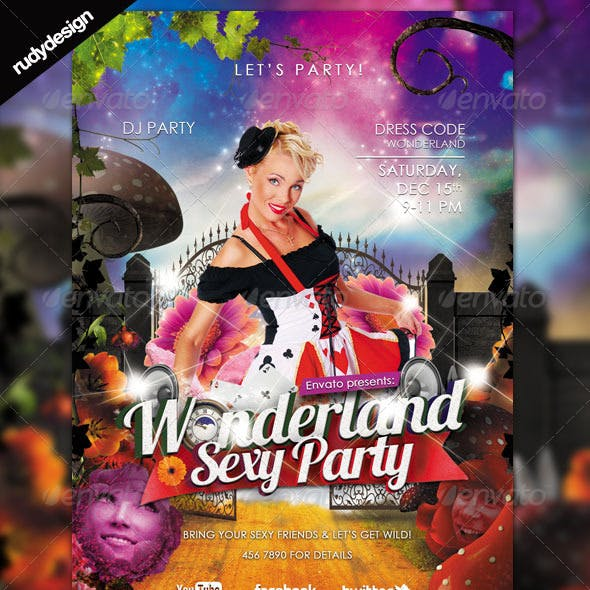 Sexy Alice in Wonderland Party Theme Flyer