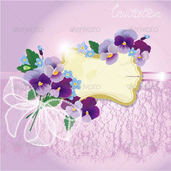 Valentines Day or Wedding Card with Pansy