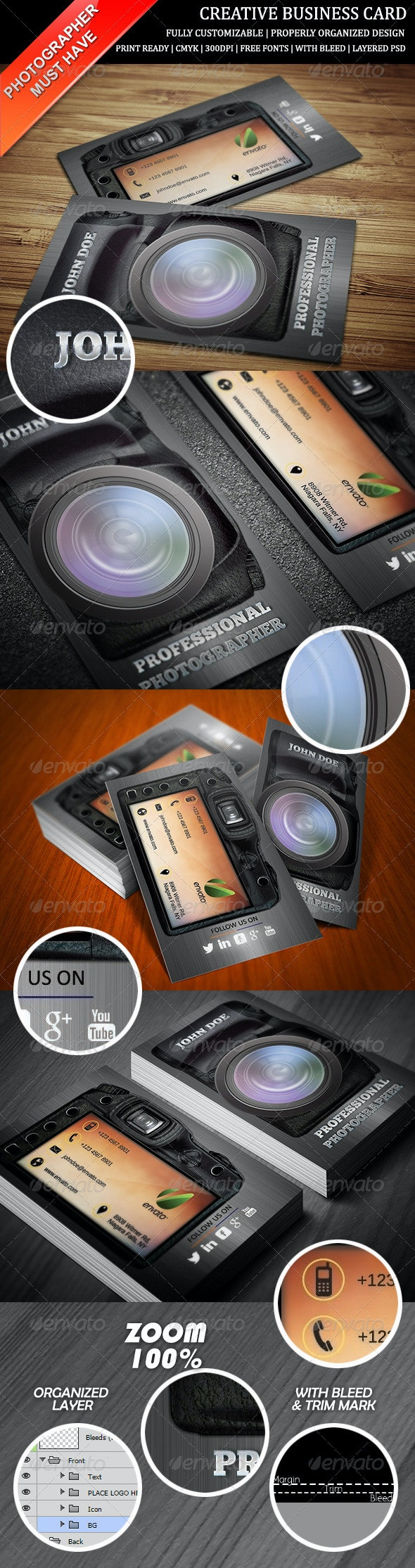 Photography Creative Business Card - Creative Business Cards