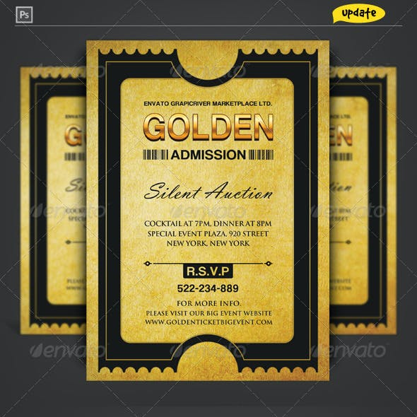 Golden Silver Ticket Corporate Invitation I