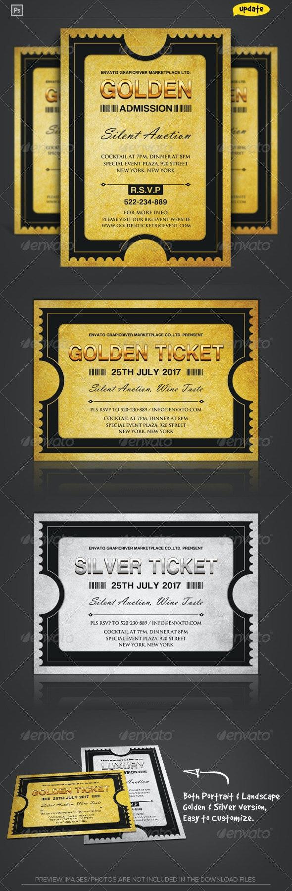 Golden Silver Ticket Corporate Invitation I - Invitations Cards & Invites