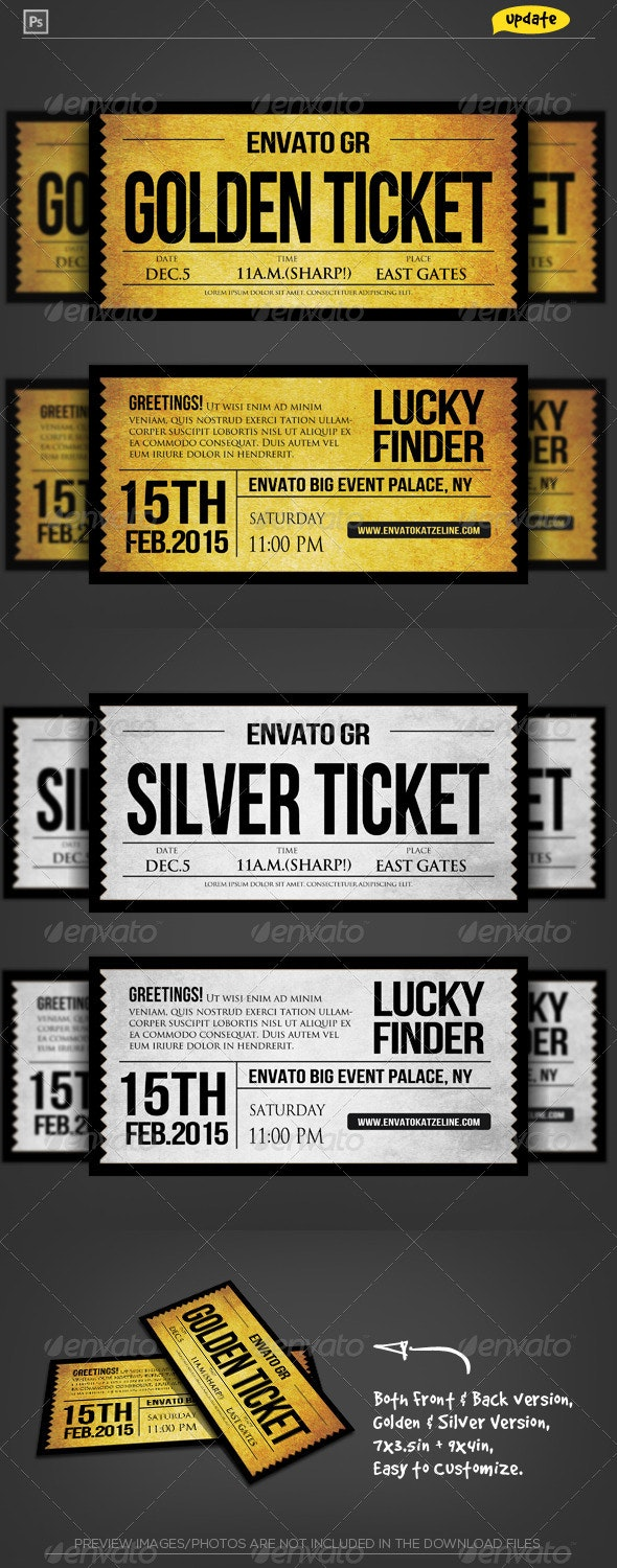 Golden Silver Ticket Corporate Invitation II - Invitations Cards & Invites