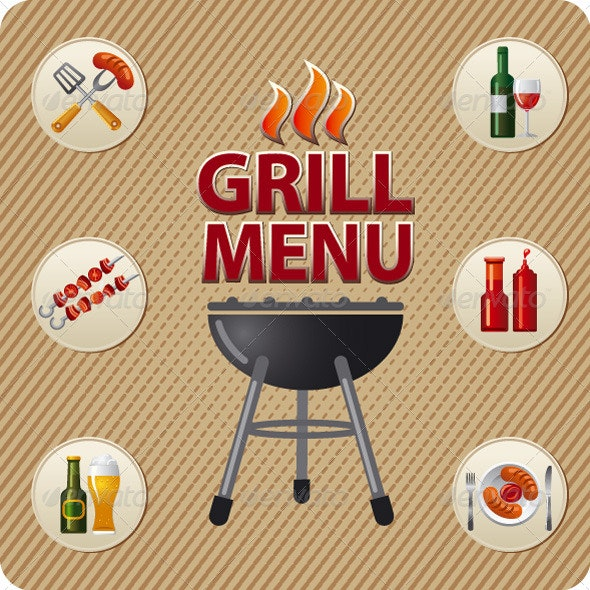 Grill Menu Cover - Vectors