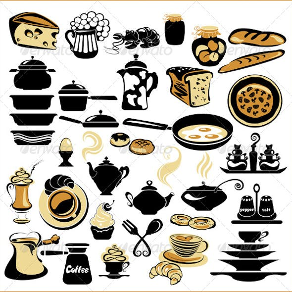 Set of Different Food - Bread, Pie, Biscuit, Cakes