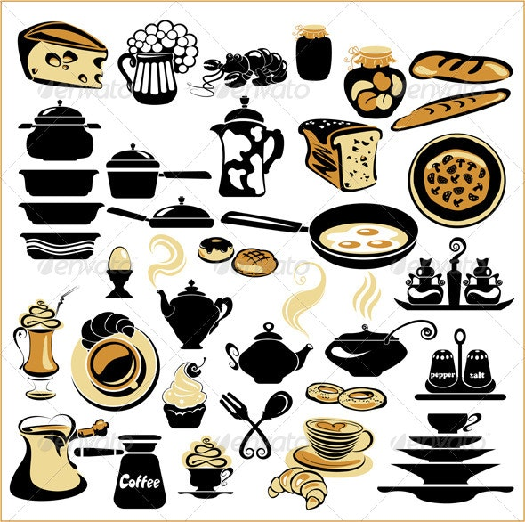 Set of Different Food - Bread, Pie, Biscuit, Cakes - Food Objects