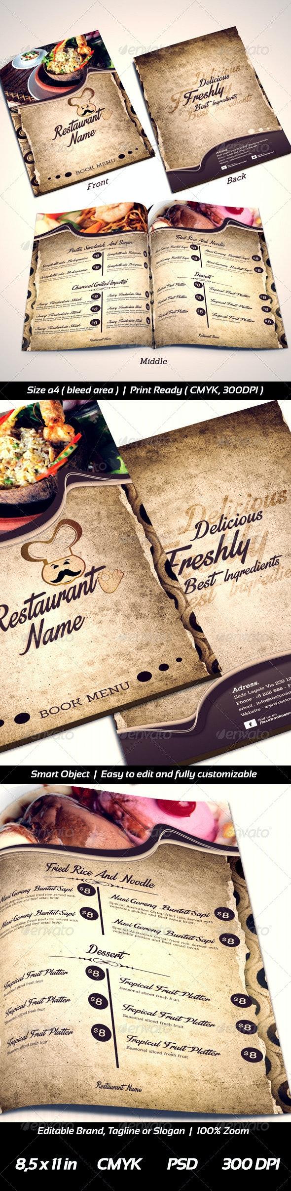 Restaurant Menu Templates Front-2 Middle-Back - Food Menus Print Templates