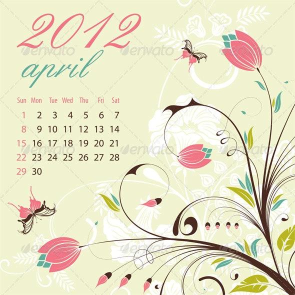 Calendar for 2012 April - New Year Seasons/Holidays
