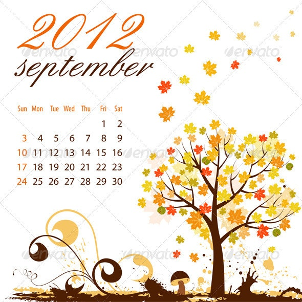 Calendar for 2012 September - New Year Seasons/Holidays