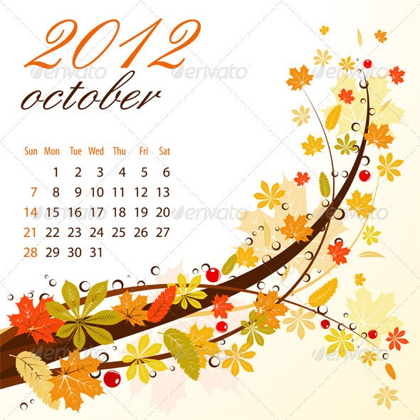 Calendar for 2012 October - New Year Seasons/Holidays