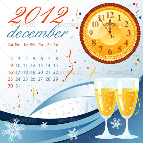 Calendar for 2012 December - New Year Seasons/Holidays
