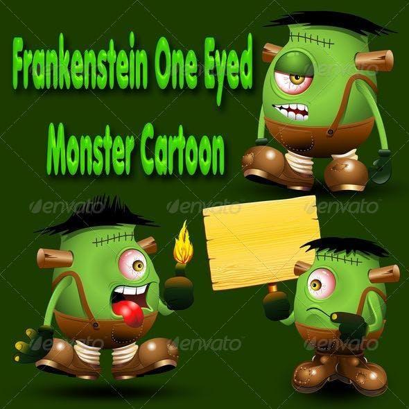 Frankenstein Monster one Eyed Cartoon