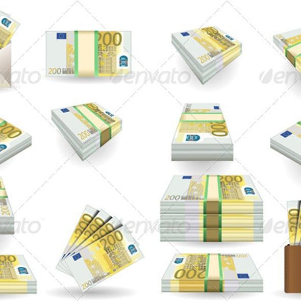 Full Set of Two Hundred Euros Banknotes