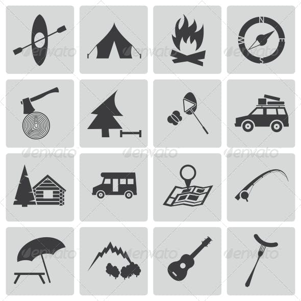 Vector Black Camping Icons Set