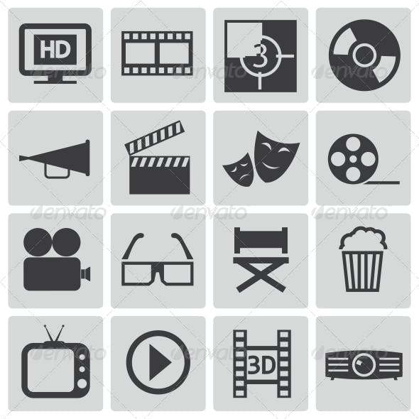 Vector Black Cinema Icons Set