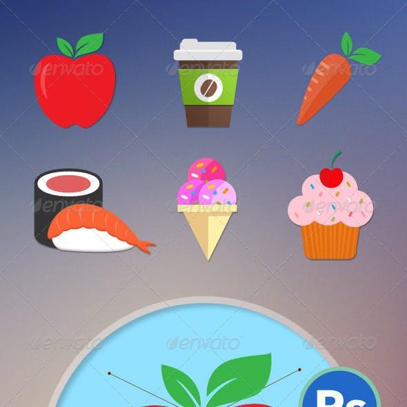 6 Food Flat Icons