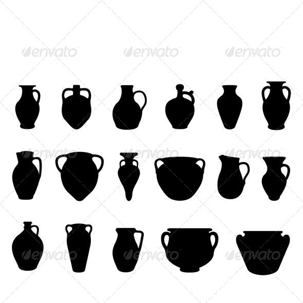 Set of Different Clay Pottery