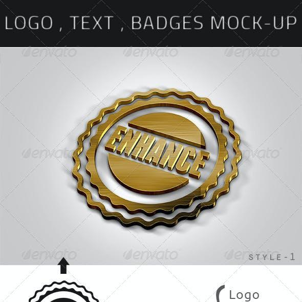 Photorealastic Logo , Text   , Badges Mock-up