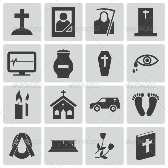 Vector Black Funeral Icons Set