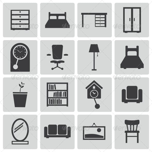 Vector Black Furniture Icons Set