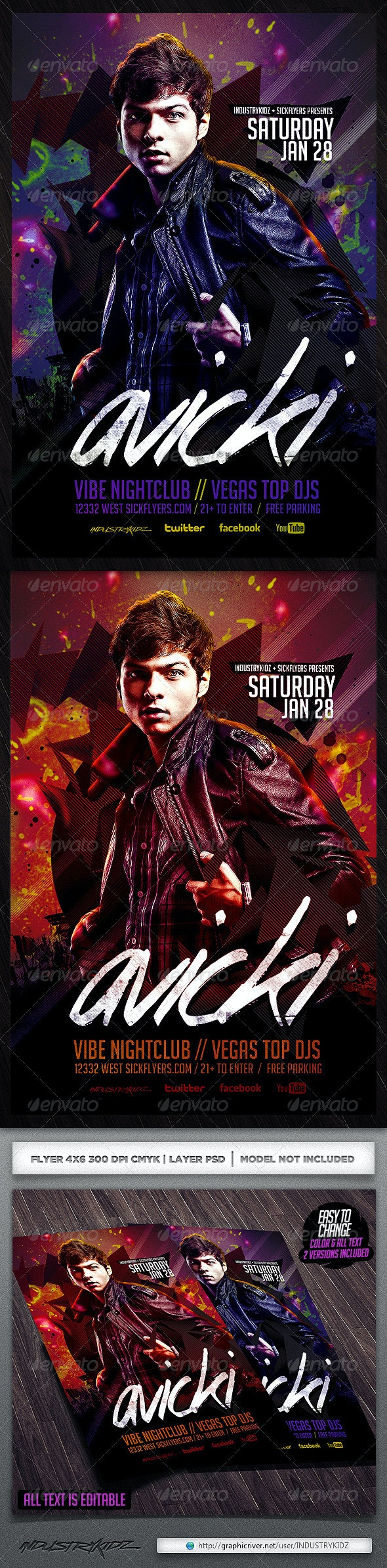 Electro House Music Flyer Template - Clubs & Parties Events