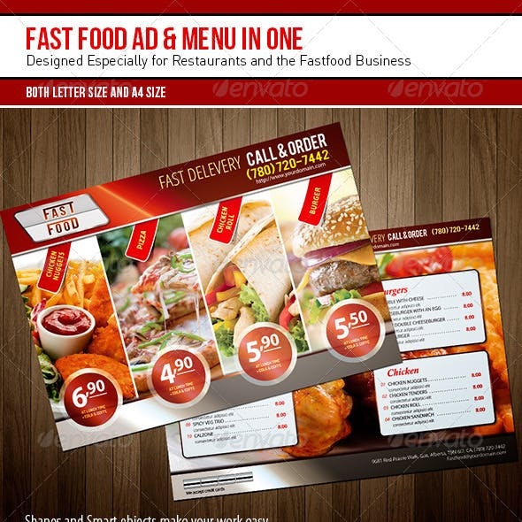 Fast Food Ad & Menu in One