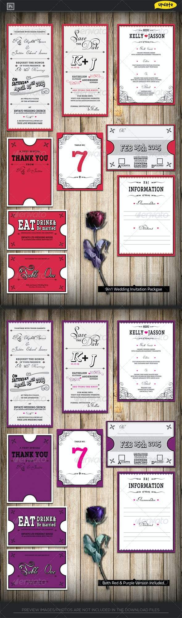 Wedding Invitation Package - Classic Red - Weddings Cards & Invites