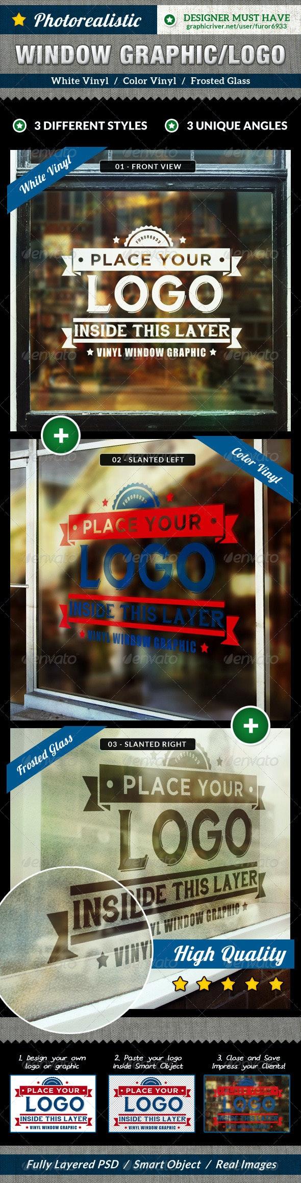 Photorealistic Glass Window Mock Up - Logo Product Mock-Ups