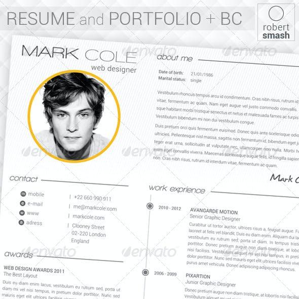 Clean Resume + Portfolio + BC