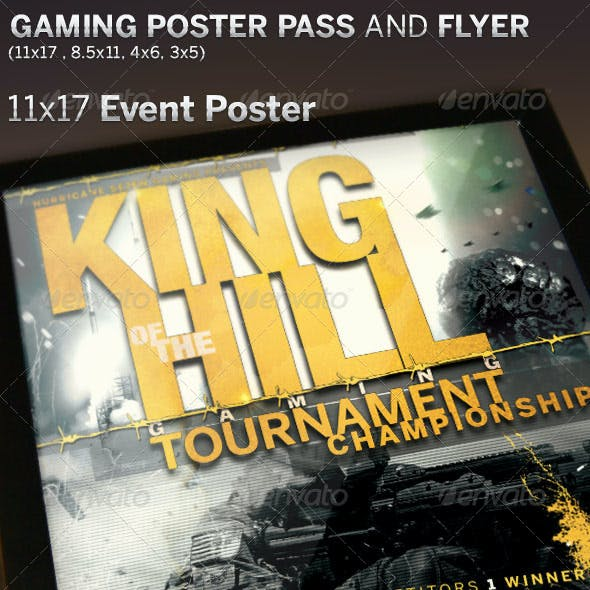 King of The Hill Gaming Poster and Event Pass