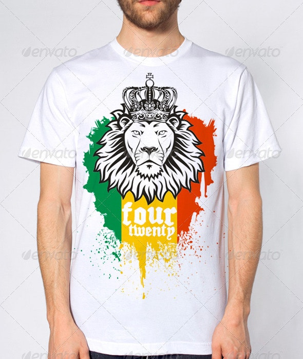 Rasta Lion Four Twenty 420 T-shirt design - T-Shirts