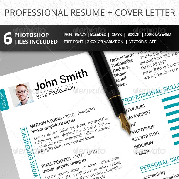 2-Piece Clean Resume + Cover Letter