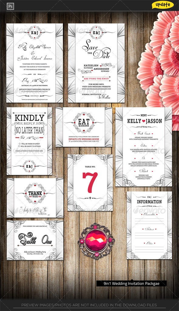 Luxury White Wedding Invitation Package - Weddings Cards & Invites