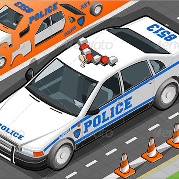 Isometric Police Car in Front View