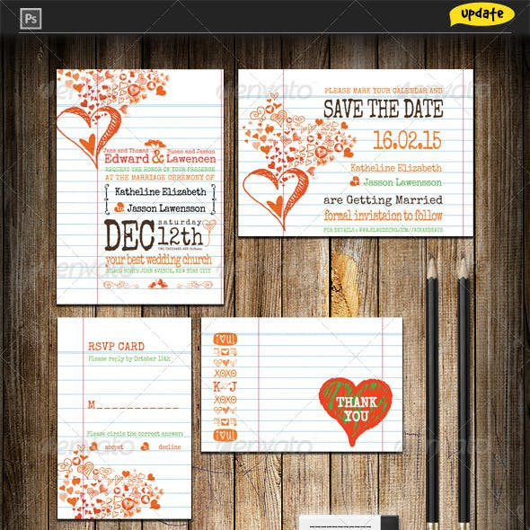 Hearts Notebook Wedding Invitation Package