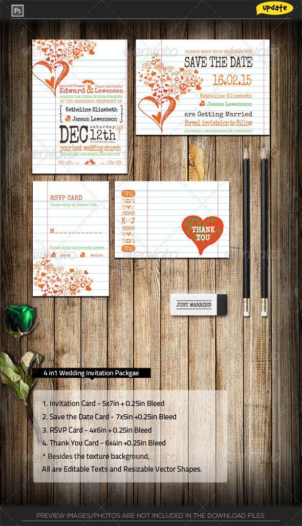 Hearts Notebook Wedding Invitation Package - Weddings Cards & Invites