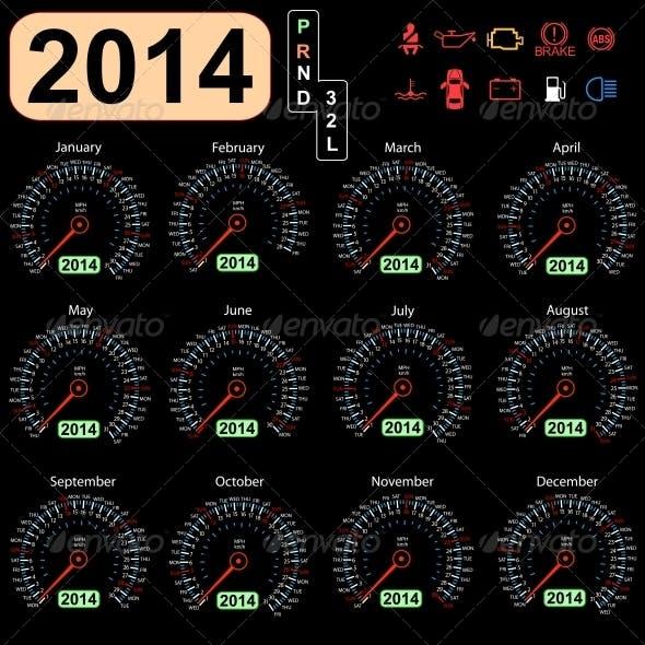 2014 Year Calendar Speedometer